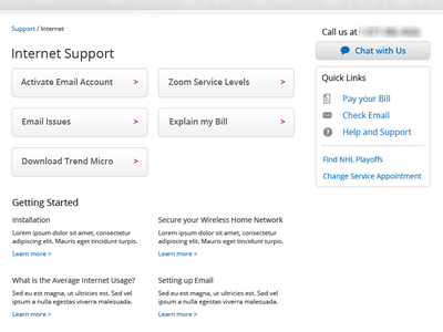 Support ui blue button support page help interface