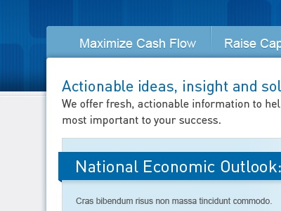 Maximize Cash Flow blue website navigation