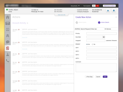 Action web ui ux interface dashboard app console layout simple admin timeline application