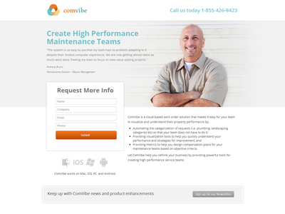 Landing Page layout simple landing page info product orange design ui