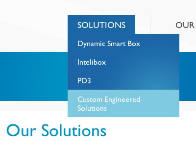 Our Solutions nav website blue dropdown hover rollover header