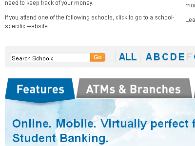 Features website ui sort banking tabs student financial blue money
