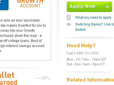 Apply Now button green orange tabs sidebar financial bank