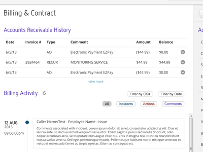 Billing & Contract ui interface app ux web application layout admin console dashboard timeline