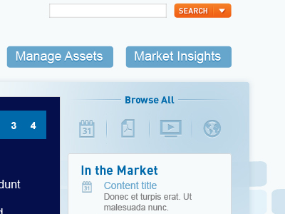 Browse All blue search background button navigation icons sidebar financial