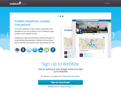 Webkite Sign In signin login blue clouds google shadow sign in log in landing page