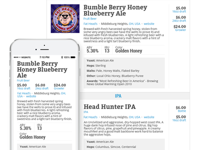 Beer Menu beer responsive clean white simple brewery menu list price pricing mobile