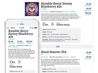 Beer Menu beer responsive clean white simple brewery menu list price pricing mobile