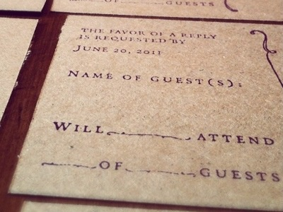 Favor Of A Reply wedding invite rustic handmade kraft paper