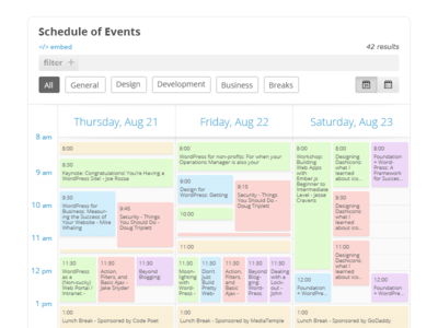 Schedule of Events - Calendar