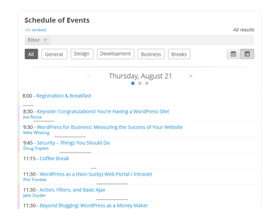 Schedule of Events - List clean ui ux events conference toggle filter sort