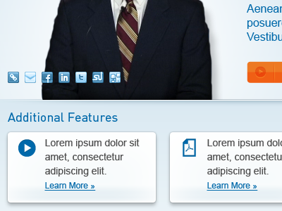 Additional Features financial blue social shadow icon