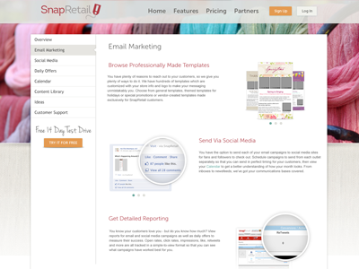 Features Page retail saas orange content sidenav museo redesign white