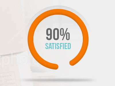 Satisfaction Gauge gauge orange teal percentage percent shadow ui design application clean graph