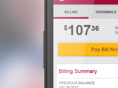Pay Bill mobile ui interface app android billing summary red yellow button