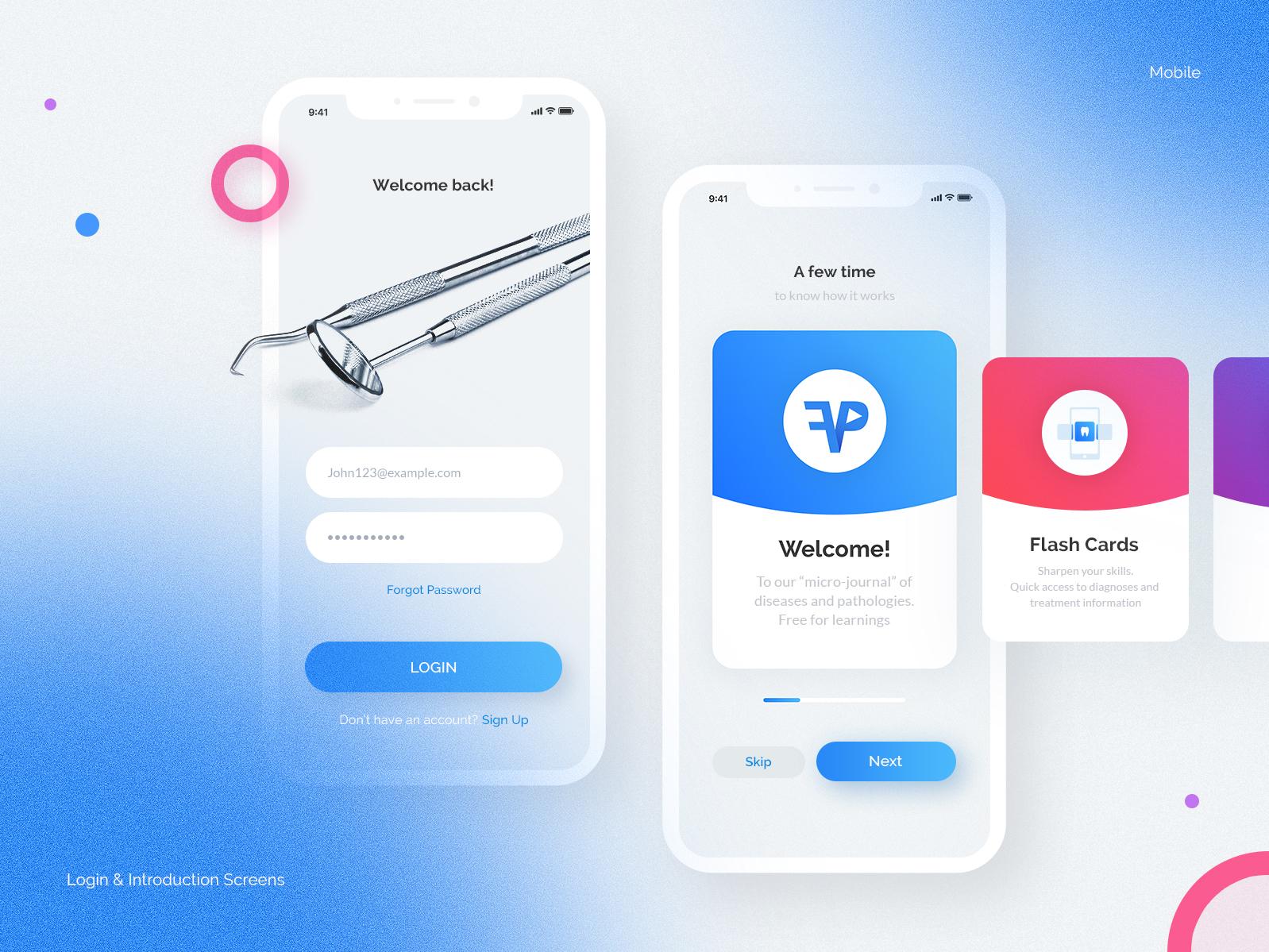 Login & Introduction Screens. Mobile debut shot medical app mobile design minimal illustration design ux ui app login screen login design login login form