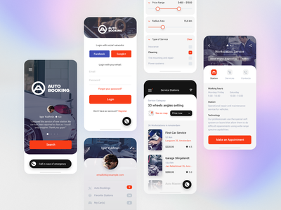 Mobile Auto Services in Your City - App interface ux mobile ui splash simple profile planning modern mobile login list ios filter designs card booking auto adobe app about