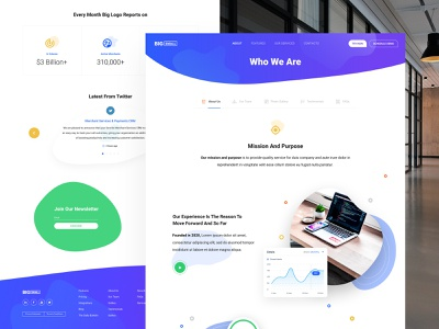 """Corporate web site """"About Us"""" page goals creative purpopse mobile desktop innerpages services enterprise corporate inspiration inner page modern flat green colors blue about website web design"""