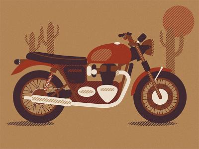 Triumph Boneville illustration illustrator printscreen halftones vector riding for the feeling ride rider riding bike boneville