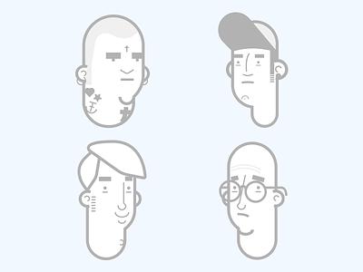 Faces fun nerd guy skater skinhead faces illustration vector illustrator avatar face