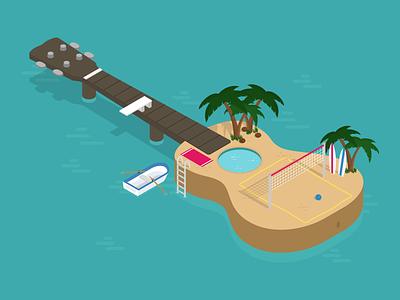 Ukulele Island boat beach volleyball surf play music summer illustrator illustration isometric island ukulele