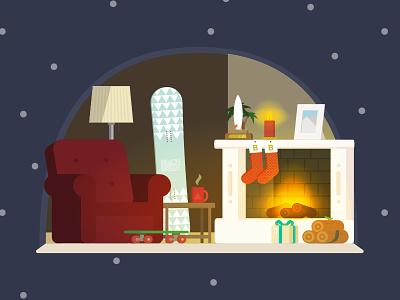 Christmas Sofa xmas living room christmas sofa fireplace store snowboard skate surf illustration illustrator