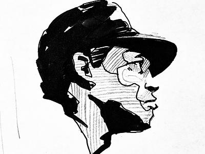 Baseball Player Illustration art vintage sports drawing illustration baseball