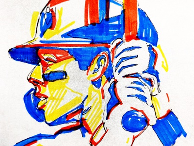 Baseball Player Illustration primary colors enotsdesign illustration drawing sports baseball