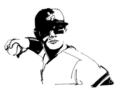 Baseball Player Illustration mark making ink illustration player baseball
