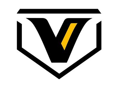 V PLATE black and gold enotsdesign sports logo baseball bas