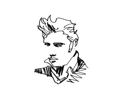 Line King pen drawing blackandwhite theking elvis linework line illustration