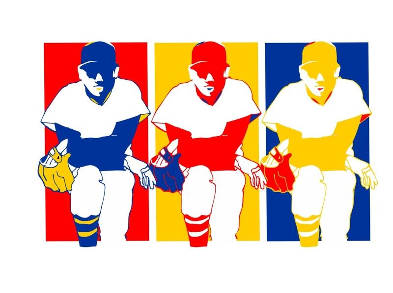 Dugout Step Primary primary colors vector illustration retro design enotsdesign sports baseball logo