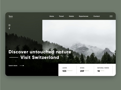 DailyUI 003 - Landing Page country mountains ui travel tour guide tourism switzerland landing page ui landing pages landing page dailyui 003 003 ux ui ux web design design daily ui dailyui interface user interface