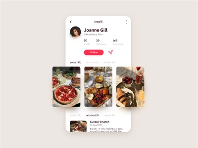 DailyUI 006 - User Profile foodie food blog food app blog design photo gallery user profile design profile design profile page user profile user daily ui 006 006 ux ui ux web design design daily ui dailyui interface user interface