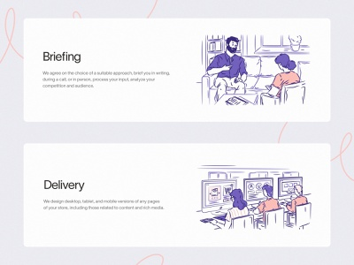 Content illustrations (part 2) human sketch peope design agency linework briefing delivery vector ai svg website team presentation clean character landing ui web illustration design