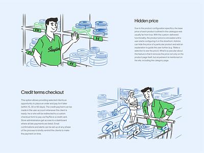 Online store support vector svg price shopping shop online website human team clean character landing web ui illustration design