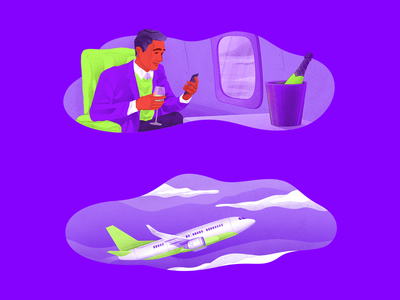 Man on airplane motion colors blog article migration inktober vip cloud flying sky airplane business man web people ui landing clean character illustration
