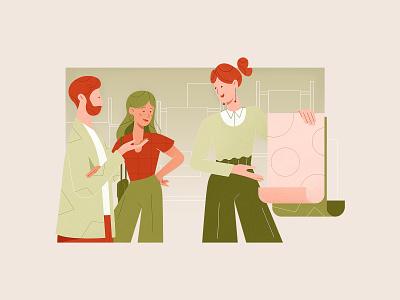 Presentation texture new online shop team presentation development people vector web landing ui design clean character illustration