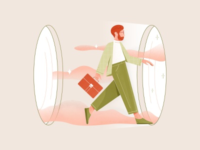 Man in portal texture time travel future business team portal data man 2d web vector ui design clean character illustration