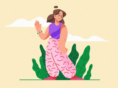 Lifestyle hello new top team walk forest woman girl texture 2d vector web ui design clean character illustration
