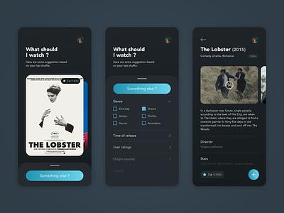 Random Movie Finder App list ui filter mobile ui app dark mode dark ui movie