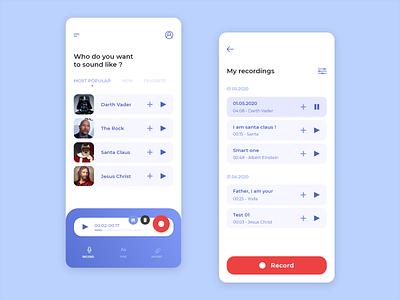Voice Changing App ux recording voice mobile design app ui