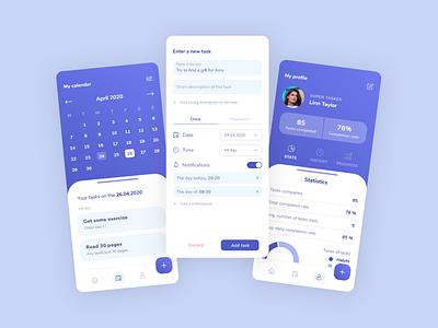 Daily Tasks App #2 profile calendar daily dailyui task goal mobile manager ux app ui