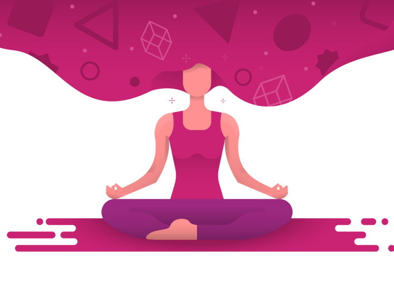 Woman doing yoga relax lifestyle gradient flat purple pink vector illustration people yoga health woman