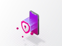 Mobile security isometric illustration