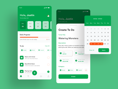 To do Apps clean green uidesign ux ui mobile ios design productivity app