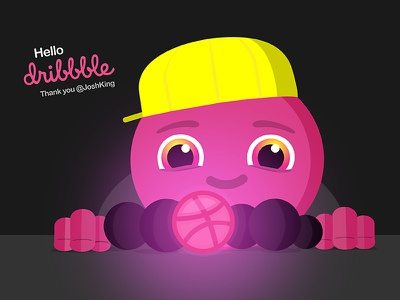 One ball to rule them all smiling character glowing flat yellow hat pink big eyes marbles basketball ball