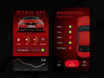 BMW M3 Dashboard and diagnostics conceptoncept ui service overview graph engine dashboard car m3 bmw automotive app