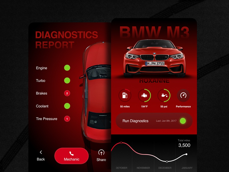 BMW M3 Dashboard and diagnostics conceptoncept ui service overview graph engine dashboard car m3 bmw automotive app