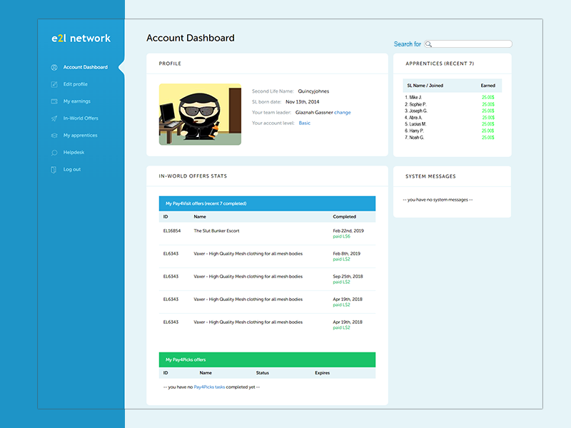 E2L Account Dashboard uidesign user interface ux ui account dashboard earn2life